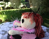 Handmade Crochet Doll Bed Doll Pink Saloon Doll
