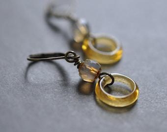 Amber Circle long dangle earrings