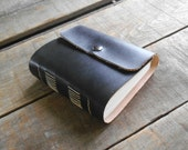 Small Dark Leather Travel Journal, Small Handmade Blank Black Leather Journal With Snap Closure, Tiny Rustic Sketchbook, Leather Art Journal