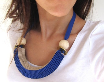 Made in Italy - Origami two colors ribbon statement necklace, geometric, minimal, brass washers and wood beads - Made to order