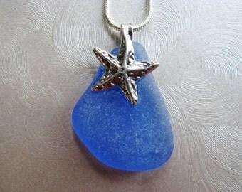 Starfish Charm - Beach Glass Pendant - Cornflower Blue - Sea Glass Pendant - Sea Glass Jewelry