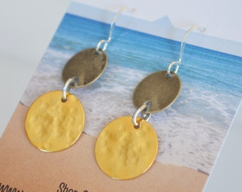 Hammered metal earrings-silver and gold mixed metal dangle earrings-classic everyday jewelry maine made