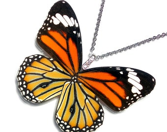 Real Butterfly Wing Necklace / Pendant (WHOLE Danaus Genutia - Monarch Butterfly - W072)
