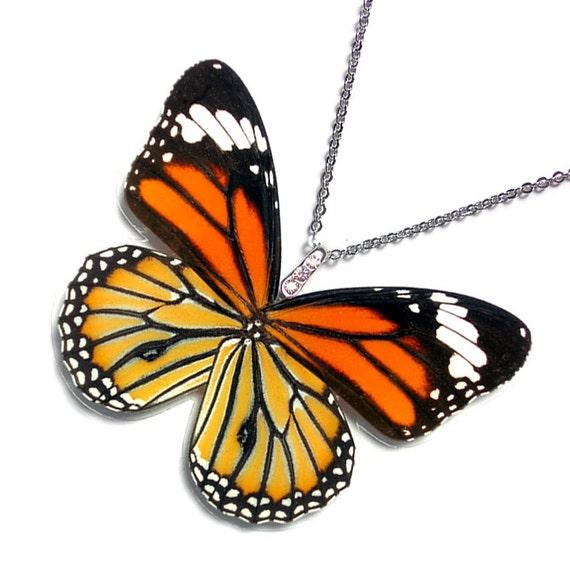 Real Butterfly Wing Necklace / Pendant (WHOLE Danaus Genutia - Monarch Butterfly - W072)