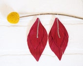 recycled red leather feather earrings, dangle, feathers, handmade, tassel earrings, ear, stacylynnc