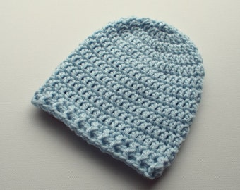 Newborn Crochet Hat, Powder Blue Beanie, Baby Hat, Infant Photo Prop, Coming Home Hat, Baby Boy Hat, Baby Gift, Ready to Ship