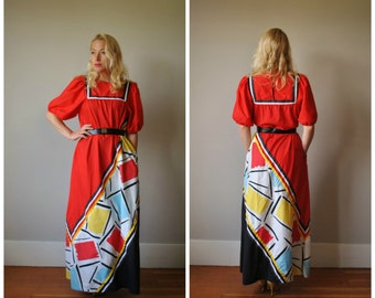 1980s Graphic Lounge Dress~Size Small