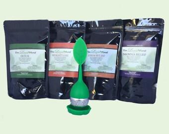 Signature TEA package- 4 teas- free green leaf infuser