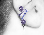 Amphitrite III v14: Elegant wire wrapped steampunk ear cuff with blue and purple Swarovski crystals, No piercing required