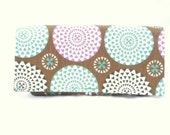 Coupon Organizer Holder Spirograph Floral Rose and Aqua Heavy Duty Fabric