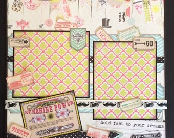 Summertime Scrapbook Single Page Layout.  Premade 12x12 Scrapbook Page. Circus Themed  12x12 Premade Scrapbook Page, Summertime Page
