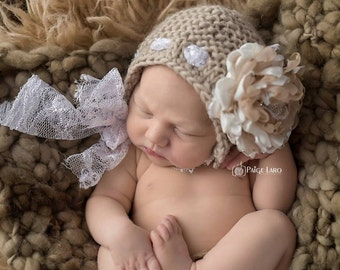 Flower Bonnet, Baby Hat, Floral Bonnet, Knit Baby Bonnet, Newborn Photo Prop, Baby Photo Prop Newborn Baby Girl Hat, Baby Hat, Knit Baby Hat