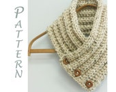 Buttoned Scarf Knitting Pattern, Instant Download,  Scarf PDF Pattern, Ribbed Knit Scarf Pattern, Chunky Scarf Pattern