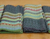 set of 4 handwoven cloth napkins: heather + stripes