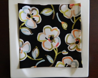 Black Floral Dinner Napkins. Set of 4. Floral Napkins. Bridal Shower, Wedding, or Hostess Gift.