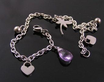 Birthstone Bracelet, Charm Bracelet, Dragonfly Bracelet, Birthstone Charms, Birthstone Jewelry, Amethyst Bracelet, Stainless Steel Bracelet