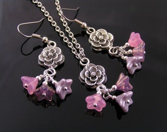 Pink Flower Earrings and Necklace Set, Roses and Ruffles Jewelry Set, Pink Earrings, Czech Glass Jewelry, Czech Glass Necklace, Glass Flower
