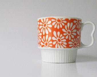 Vintage-1970s-Mod Flowers-Mug-Coffee-Tea-Cup-Japan-Porcelain