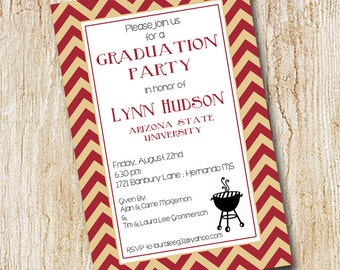 Graduation party invitation - Graduation BBQ - Cookout - Graduation celebration - printable file or printed cards