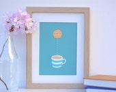 Kitchen Art Tea Cup Biscuit Dunk Screen Print Limited Edition Signed Original Screenprint