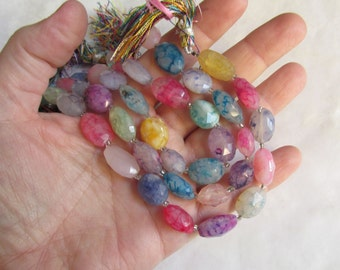 Rainbow Chalcedony Pink Blue Gold Purple Oval Beads,  8  Inches
