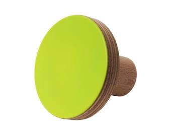 Wooden knob green fluro neon color