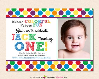 Rainbow Polka Dot First Birthday Party Invitation (Digital File OR Cardstock Printed Cards Also Available)