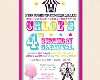 Fun & Games - Kids Carnival Birthday Party Invitation (Digital File OR Cardstock Printed Cards Also Available)