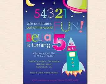 Out of this World - Girl's Space Theme Birthday Party Invitation (Digital File - Printed Cards Also Available)