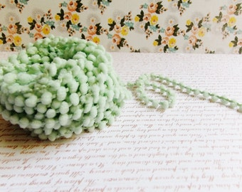Mint Green Mini Pom Pom Trim ~doll clothes supply, baby kids wedding hair bow band embellishment, scrapbook gift wrap tiny novelty garland