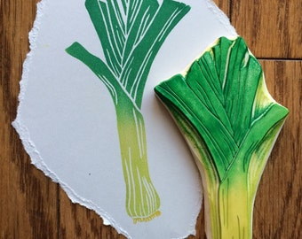 Hand Carved Leek Stamp