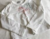 Girls cherry t shirt. long sleeve t shirt, pink cherries, rockabilly kids longsleever, red, green thread freemotion embroidered.