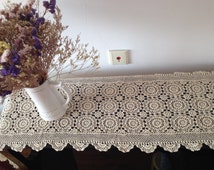 "Vintage Hand crochet table runner tablecloth dresser scarf / blanket / shawl / valance / mat / center piece / piano cover lace 90"" long"