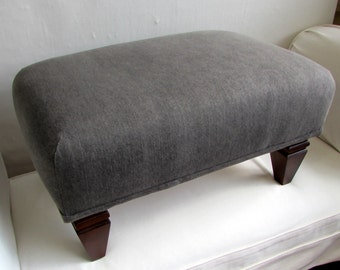 Burlap Slipcovered Stool Ottoman Tuffet Bench Seating