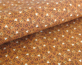 Small Print Floral Cotton Fabric - Pumpkin Orange Quilting Fabric - VIP Cranston Print Works