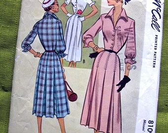 1950s Vintage Sewing Pattern, Shirtwaist Dress with Three-Quarter Length Cuffed Sleeves - Day Dress, McCall 8109 / Size 12