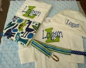 Logan Personalized Gown or Bodysuit/Onesie Hat Burp cloth and Pacifier Clip HomeComing Outfit Going Home Outfit - Name or up to 3 initials