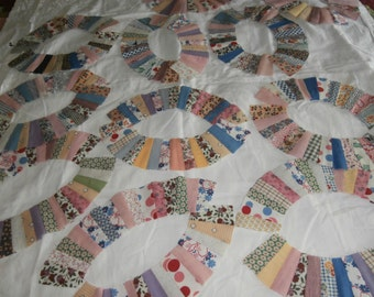 VINTAGE WEDDING RING Quilt sections quilt pieces for Diy quilt 38 curved pieces
