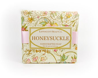 Honeysuckle Soap, Cold Process Soap, Bar Soap, Rose Clay Soap, Handmade Soap, Phthalate Free, Gift for Her