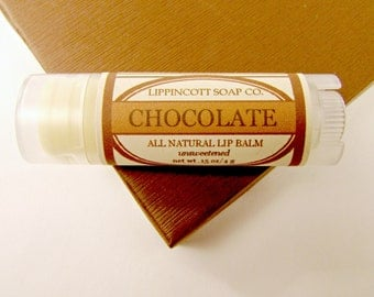 Chocolate Lip Balm - All Natural Lip Balm - Unsweetened Lip Balm - Phthalate Free - Beeswax Lip Balm - Lanolin Lip Balm
