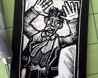 Joker Scratchboard Art Card