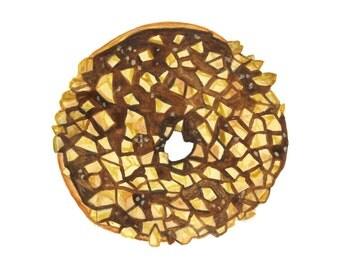 Chocolate and Peanut Donut Original Watercolor Painting
