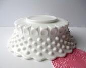 Vintage Fenton Milk Glass Hobnail Footed Serving Bowl
