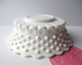 Vintage Fenton Milk Glass Hobnail Footed Serving Bowl