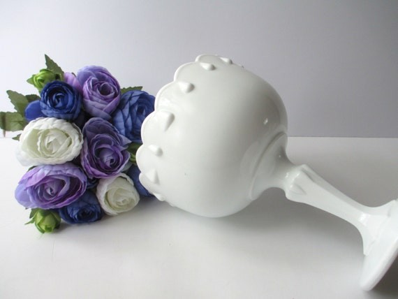 Indiana Glass Milk Glass Teardrop Compote - Vintage Wedding Decor