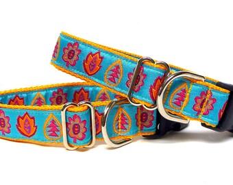 FALLEN LEAVES, dog tag collar, house collar, buckle collar, dog collar, collar with leaves, fall dog collar, autumn dog collar, yellow