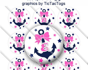 Anchor Bow Stars Alphabet Bottle Cap Images Digital Collage 1 Inch A-Z Digi - Instant Download - BC498