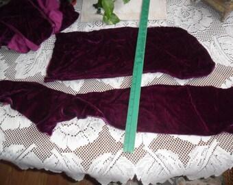 Vintage Violet VELOUR & Blue and Brown Crushed Velour Fabric Remnants