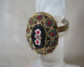 Micro Mosaic Flower Ring Blue Green Red White Gold Adjustable