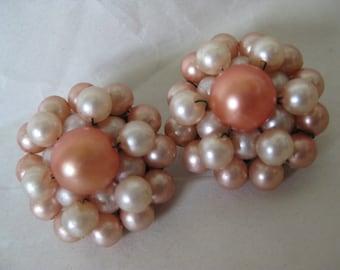 Orange Cluster Earrings Clip Pearl Vintage